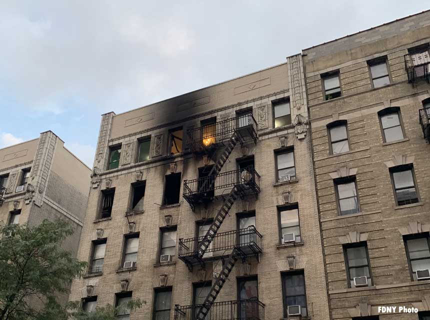 Exterior of Washington Heights building where rope rescues were performed