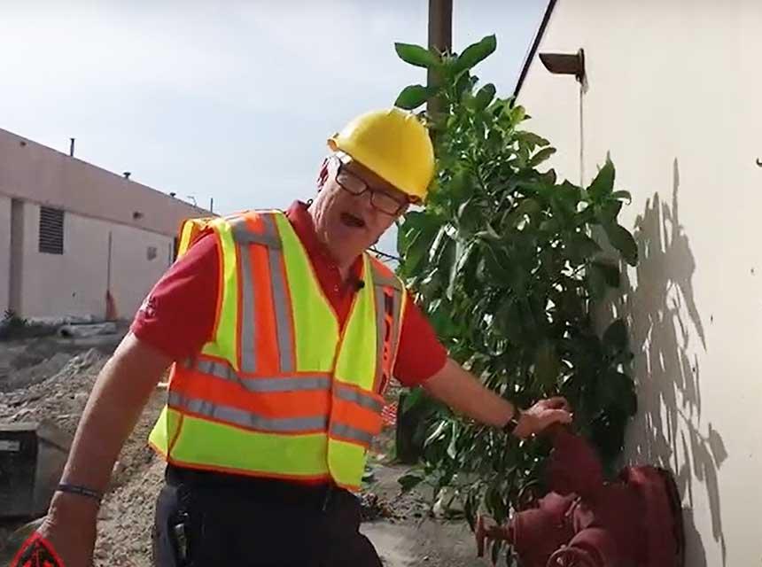 Bill Gustin using fire pump test header