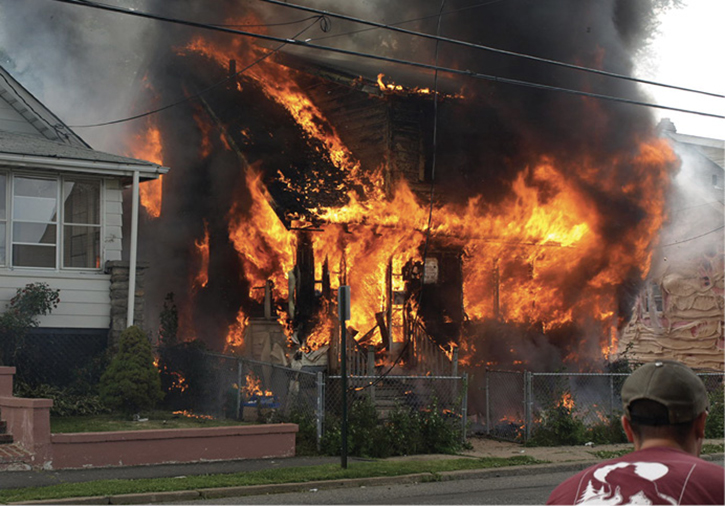 Raging structure fire