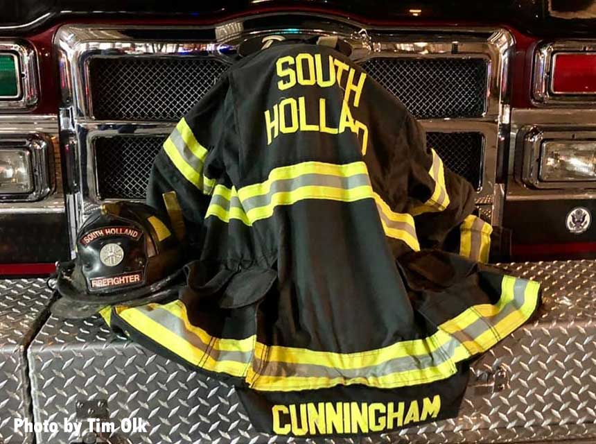 Turnouts of fallen South Holland firefighter