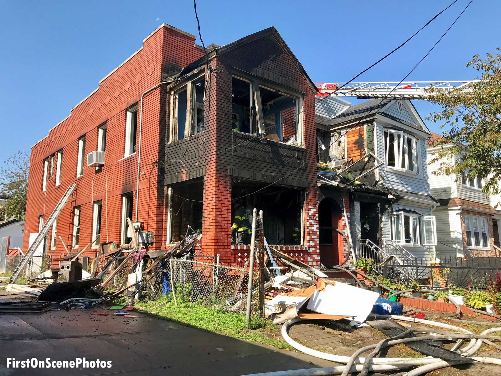 Damage to building after fire in Queens