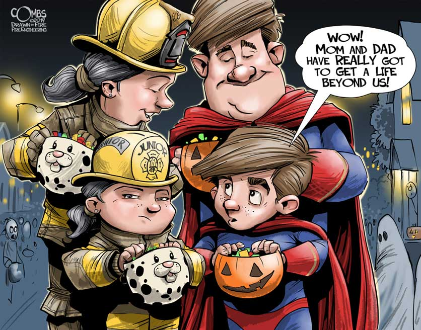 Cartoon of parents going trick-or-treating with their kids