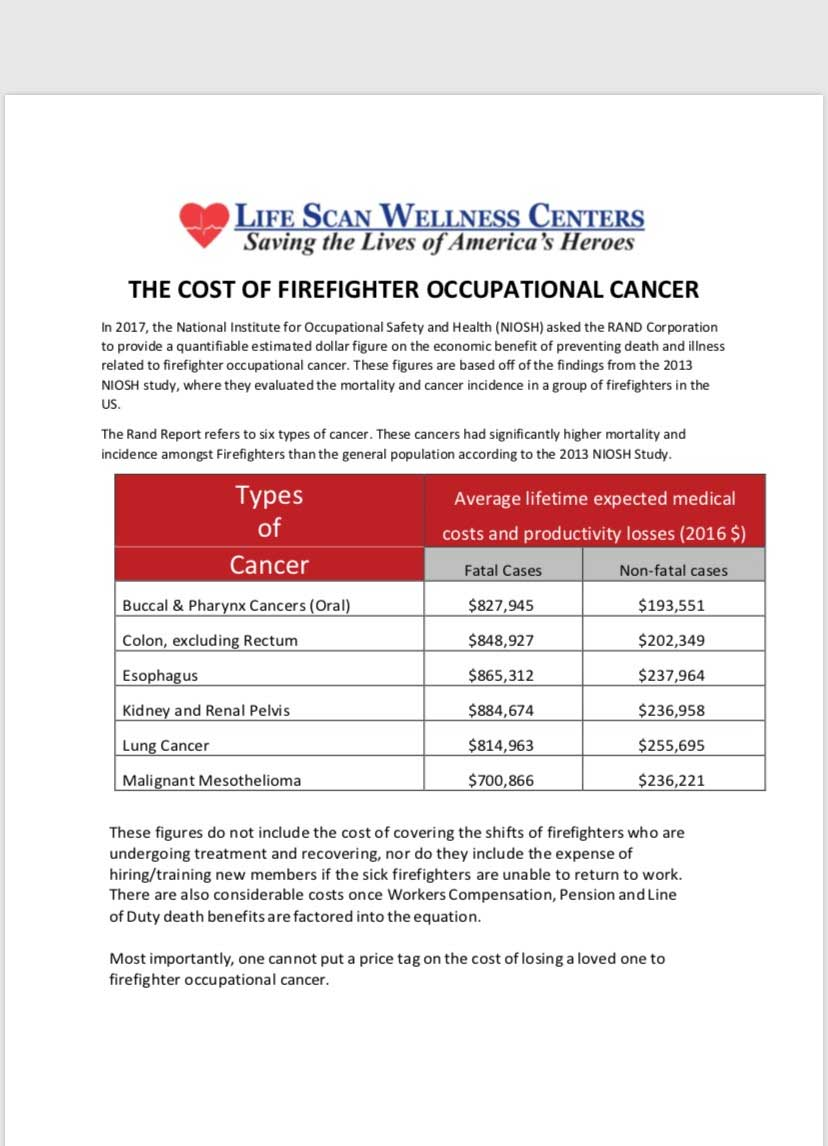 LifeScan cost of firefighter occupational cancer