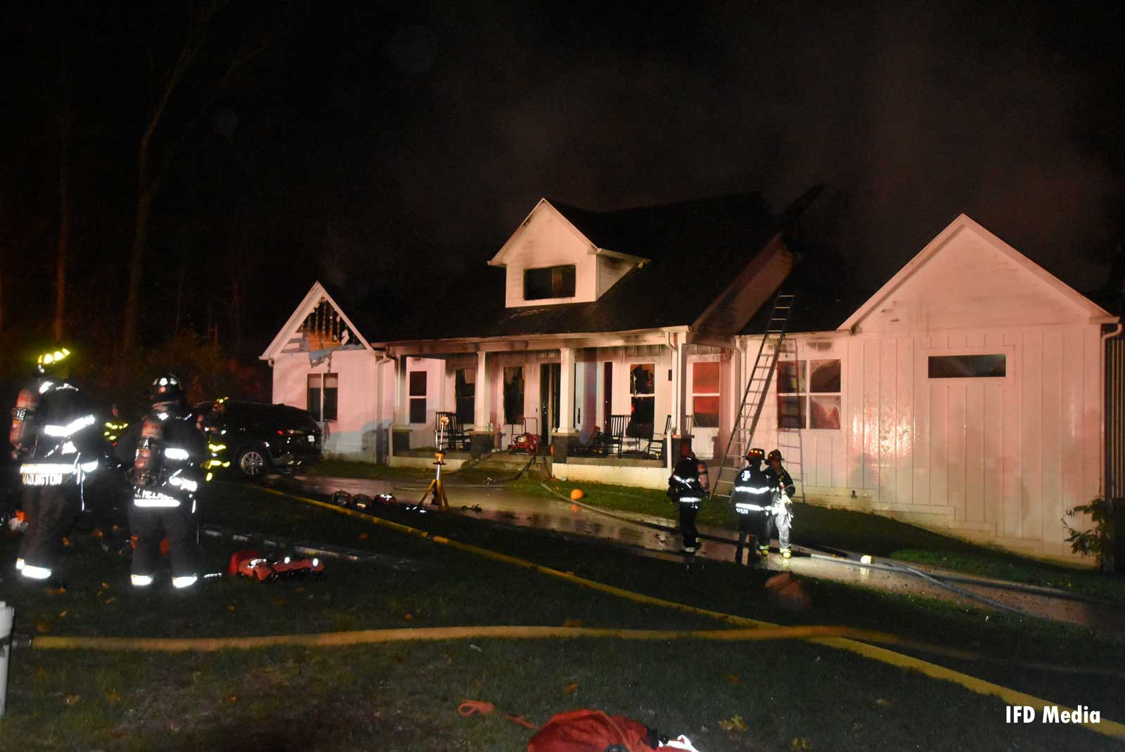 View of the fire scene