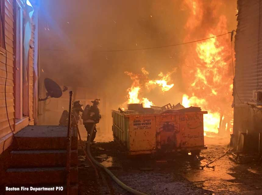 Firefighters confront raging flames in Boston