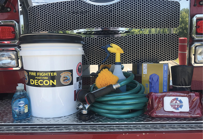 Items to remove contaminants from firefighter gear