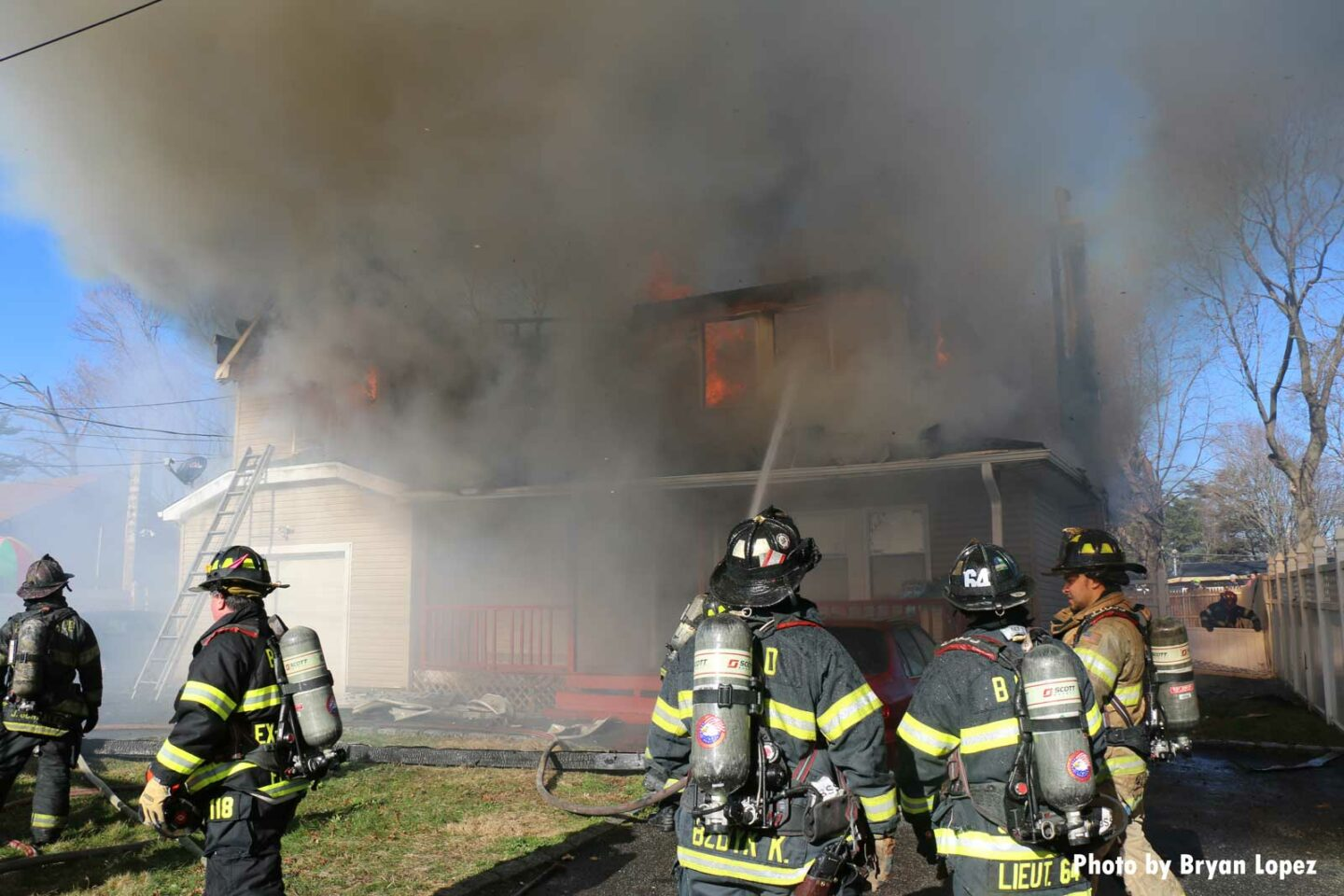 Firefighters respond to wind-driven fire