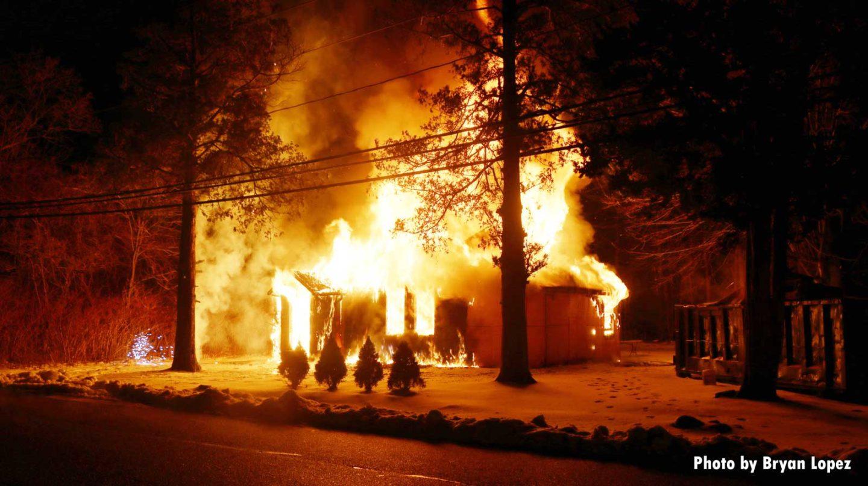 Fire engulfs a home