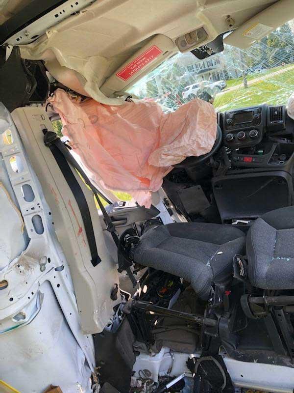 Interior of delivery van crash