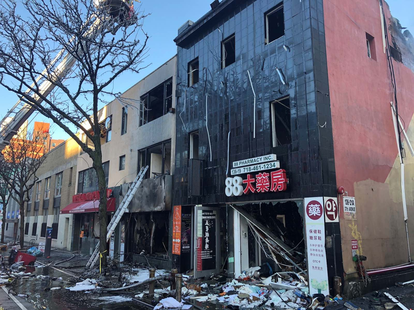 Scene of a massive seven-alarm fire in Queens