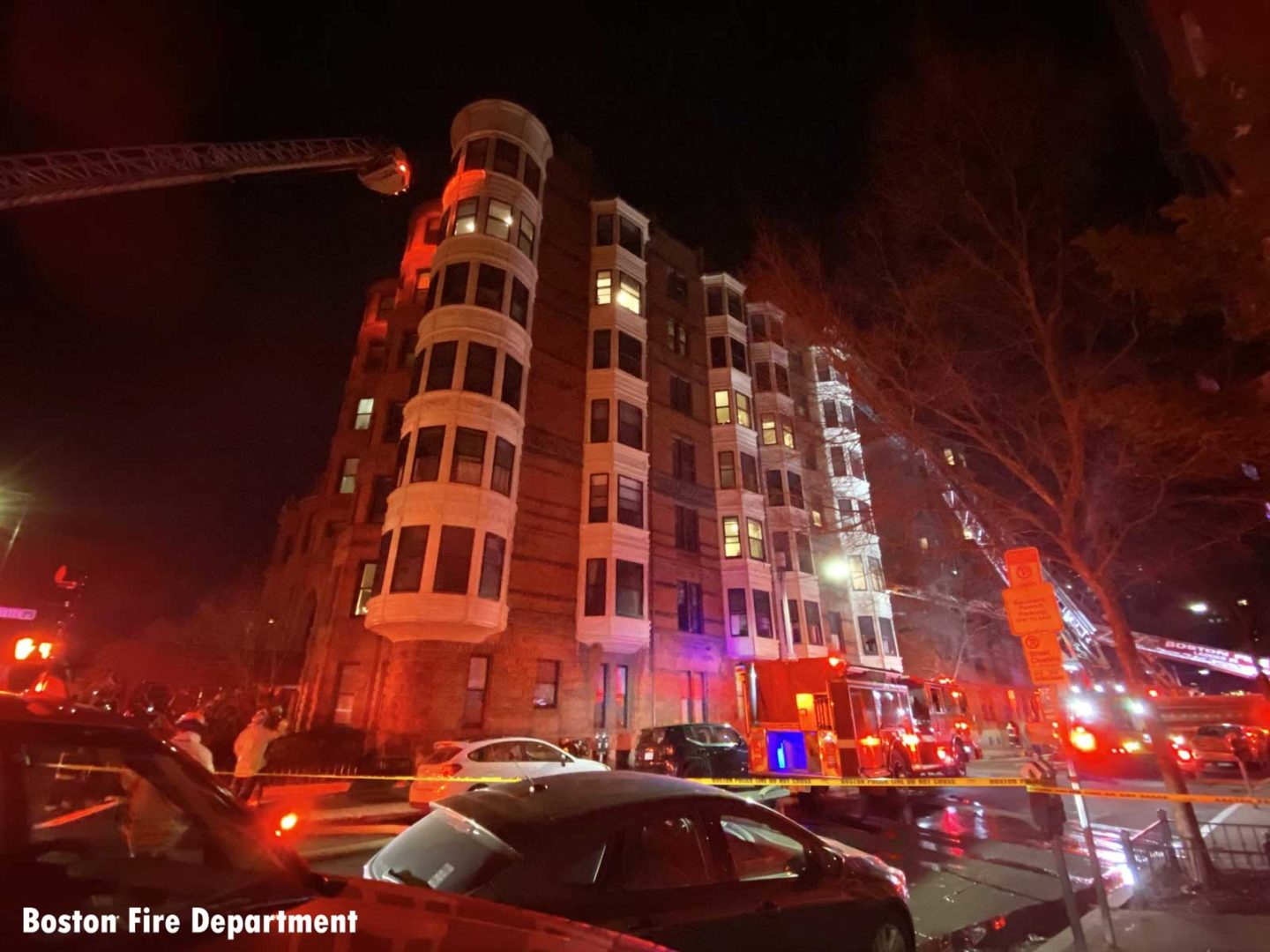 Scene of the fire in Boston with ladders raised