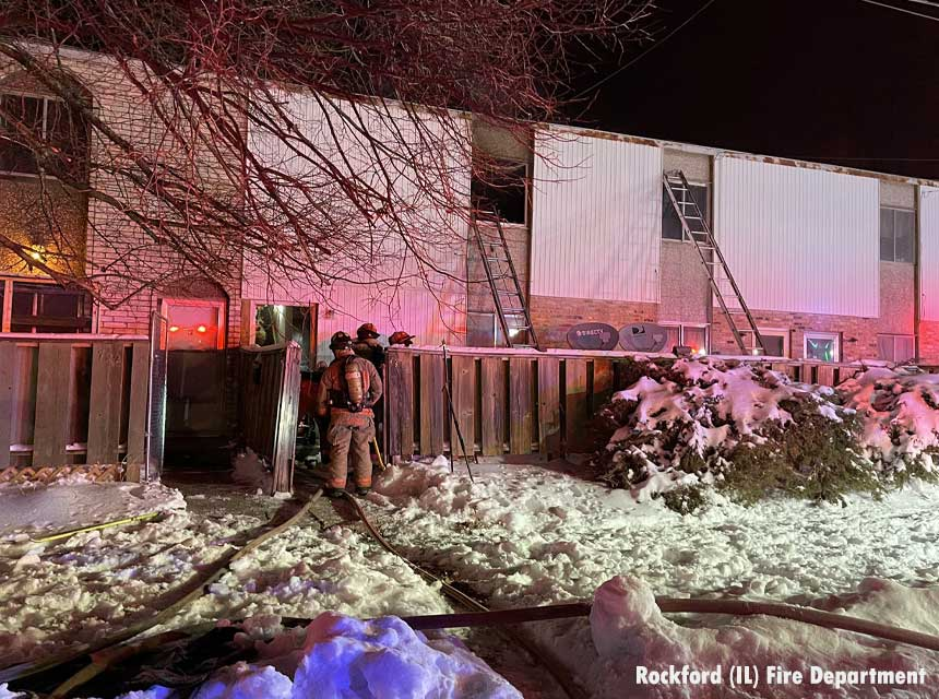 Rockford firefighters at fatal apartment fire in January 2021