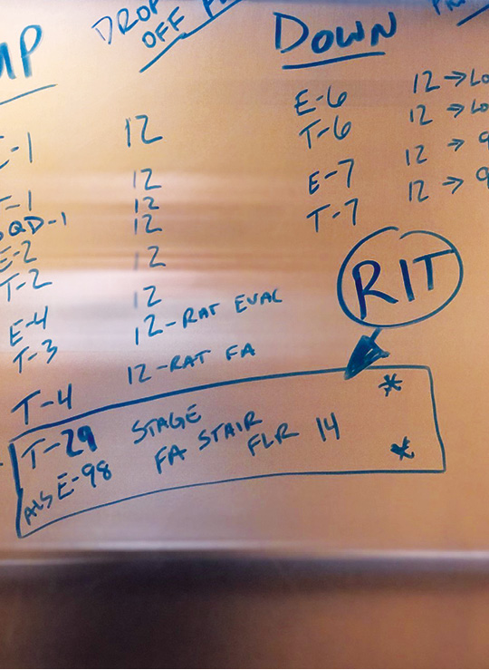 """The member transporting companies in the elevator should note the location of RITs if they are needed but can't be reached by radio. """"FA"""" indicates the fire attack stairwell."""