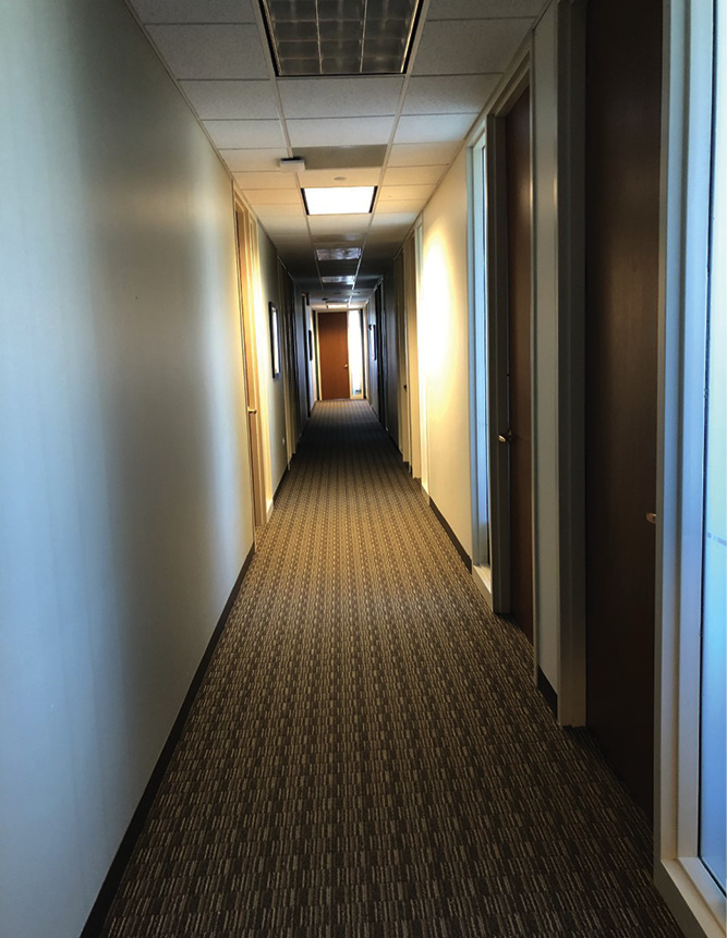 Commercial buildings with long corridors and many doorways make it easy for someone to become disoriented. Consider using a search rope and viewing a floor plan if possible while in staging.