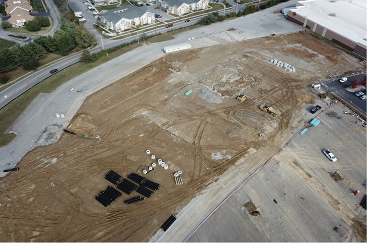 The pipe and structures shown here are positioned in areas where trenching will occur for installation.