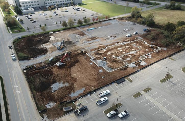 Survey of building construction site