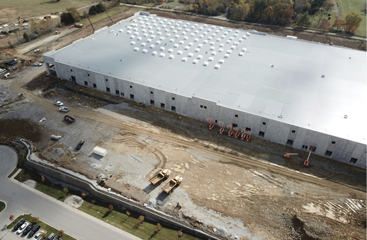This structure is still undergoing completion. This work requires aerial lifts and cranes.