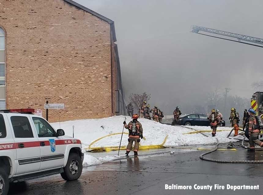 Firefighters at three-alarm fire in Baltimore County, Maryland