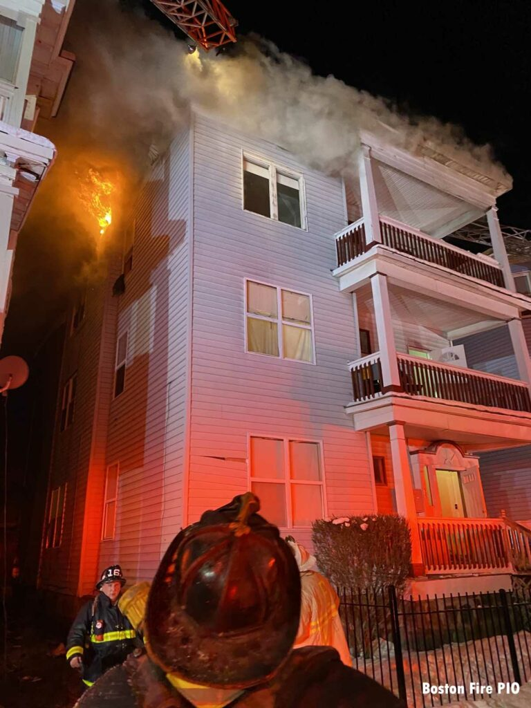 Fire between buildings in Boston