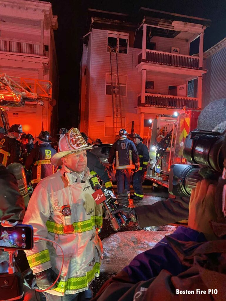 Boston Fire Commissioner Dempsey speaks to the media after the three alarm fire