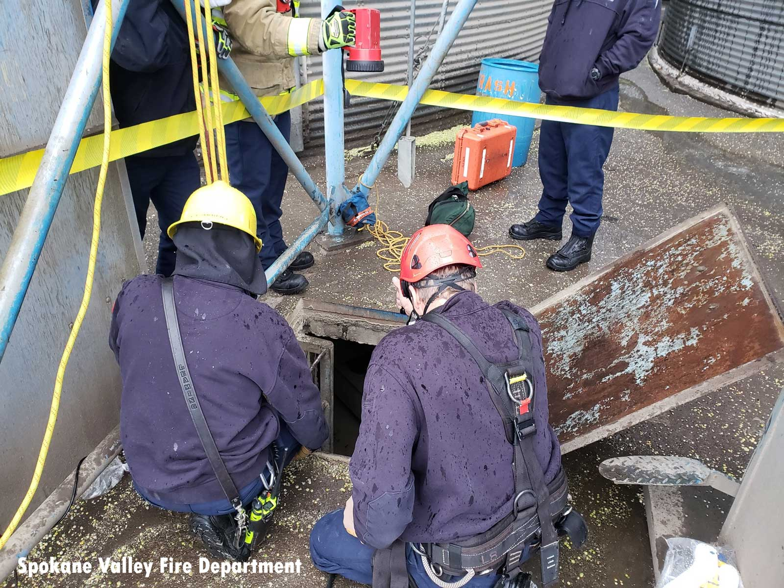 Firefighters at the scene of a grain bin rescue in Washington State
