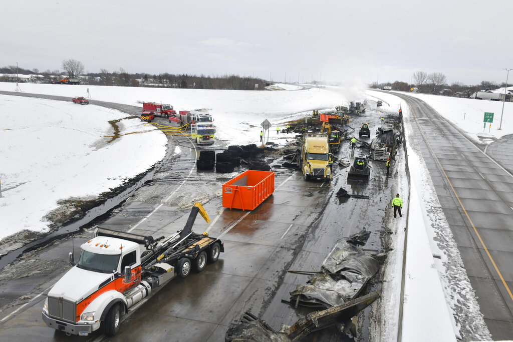Crash scene on highway