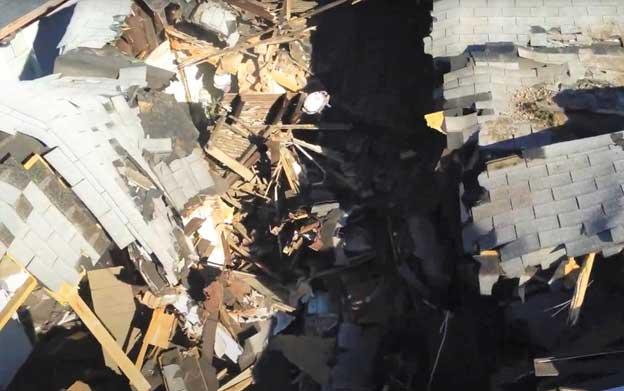 Aerial view of collapse filmed using UAV.