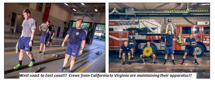 Firefighters in California and WV keeping fit