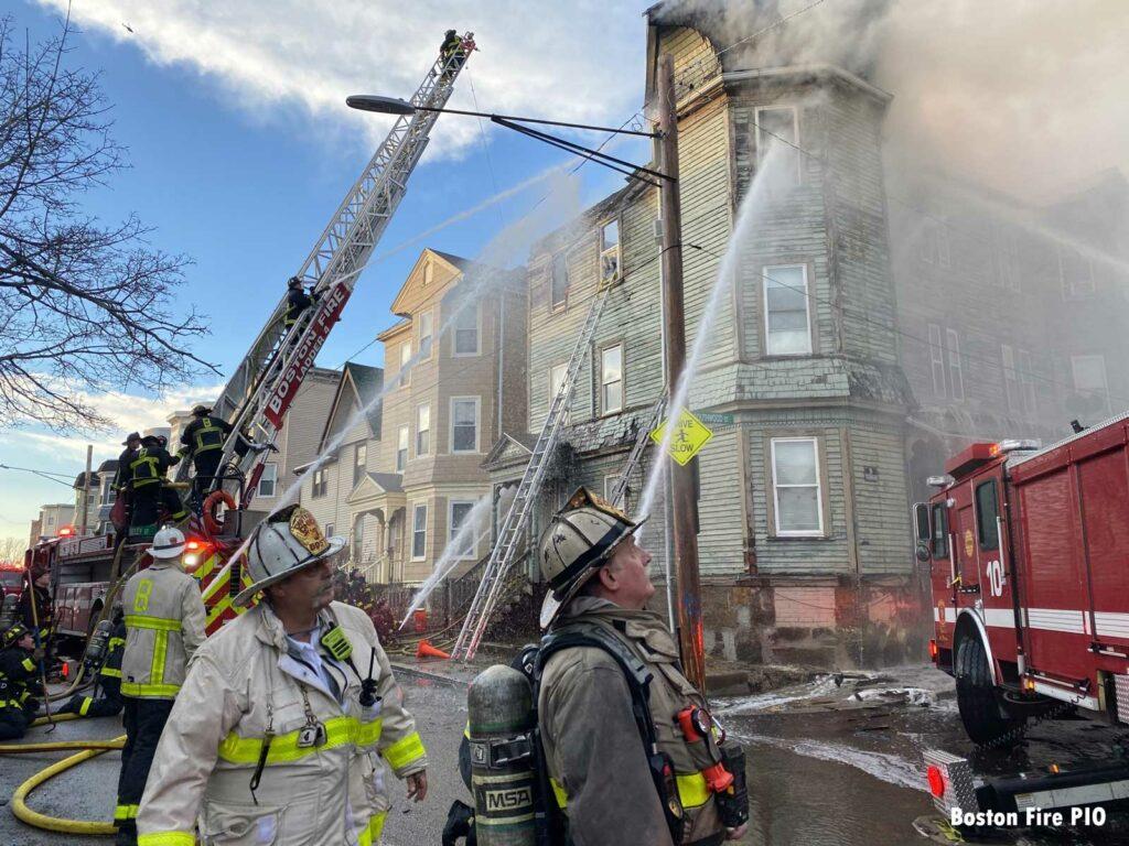 Boston fire officials at the scene of the Roxbury fire