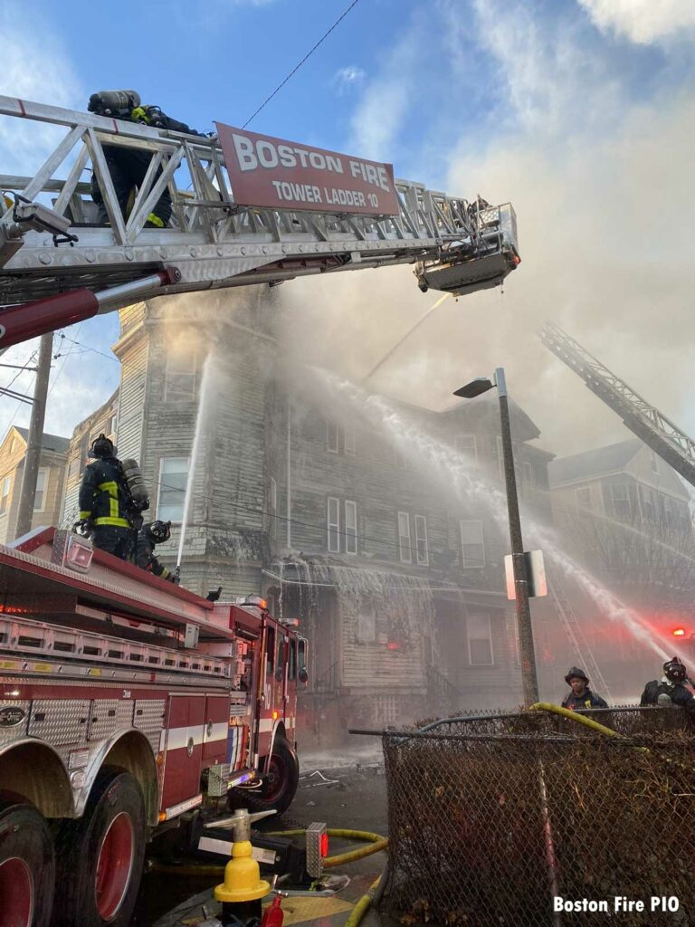 Boston Fire Department Tower Ladder with elevated stream