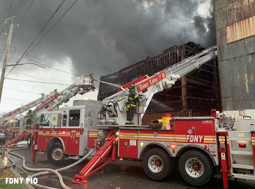 FDNY members at major Staten Island fire at warehouse