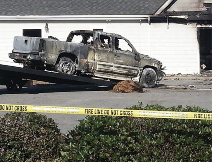 The vehicle was a late model Chevrolet Silverado, which was completely obscured on arrival. At this point, the event's magnitude was still relatively unknown until fire crews were called to stand by while the explosive ordnance disposal robot removed ordnance.