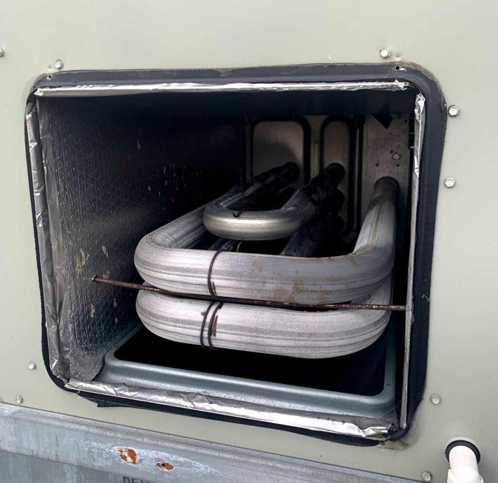 Heat exchanger in HVAC rootop unit