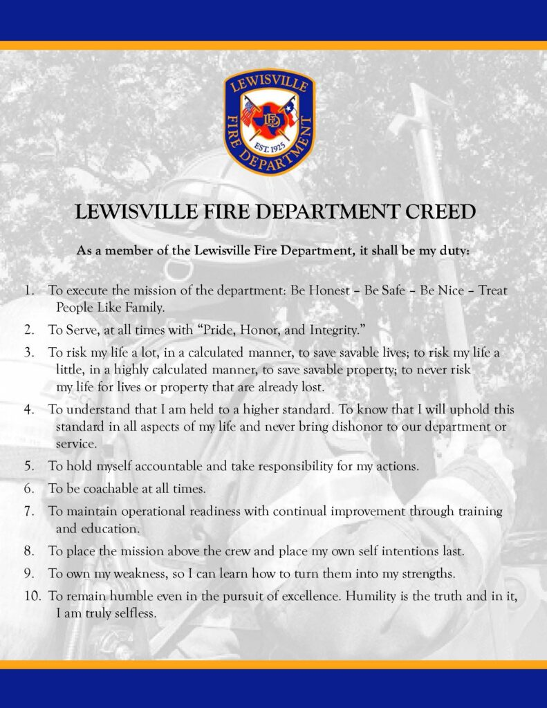 Lewisville Fire Department creed