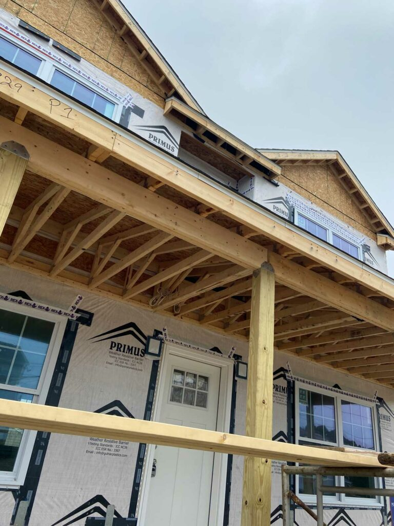 Lightweight wood porch under construction