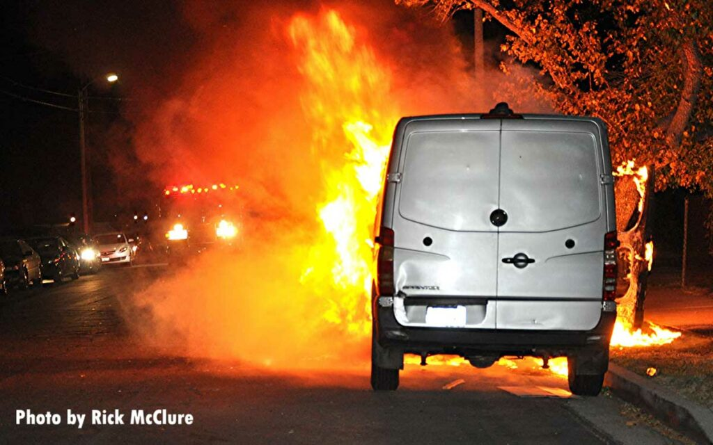 Van burning in Los Angles, California