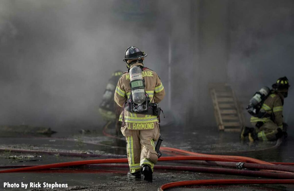 A Miami-Dade firefighter at the warehouse fire