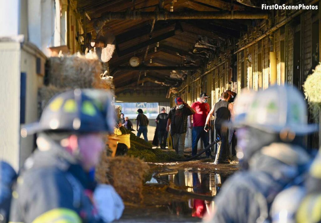 Firefighters at the scene of a fire at Belmont Park in Elmont, New York
