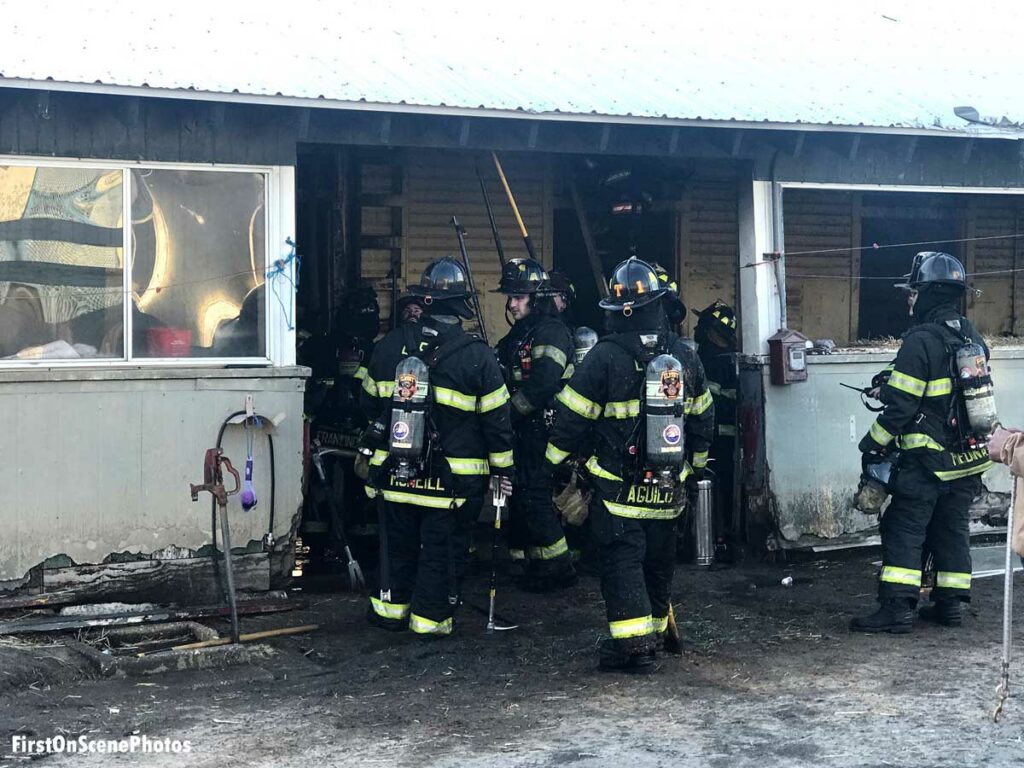 Firefighters pull ceiling in Belmont Park fire