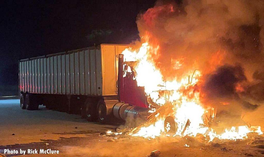 Semi trailer burning on a California freeway