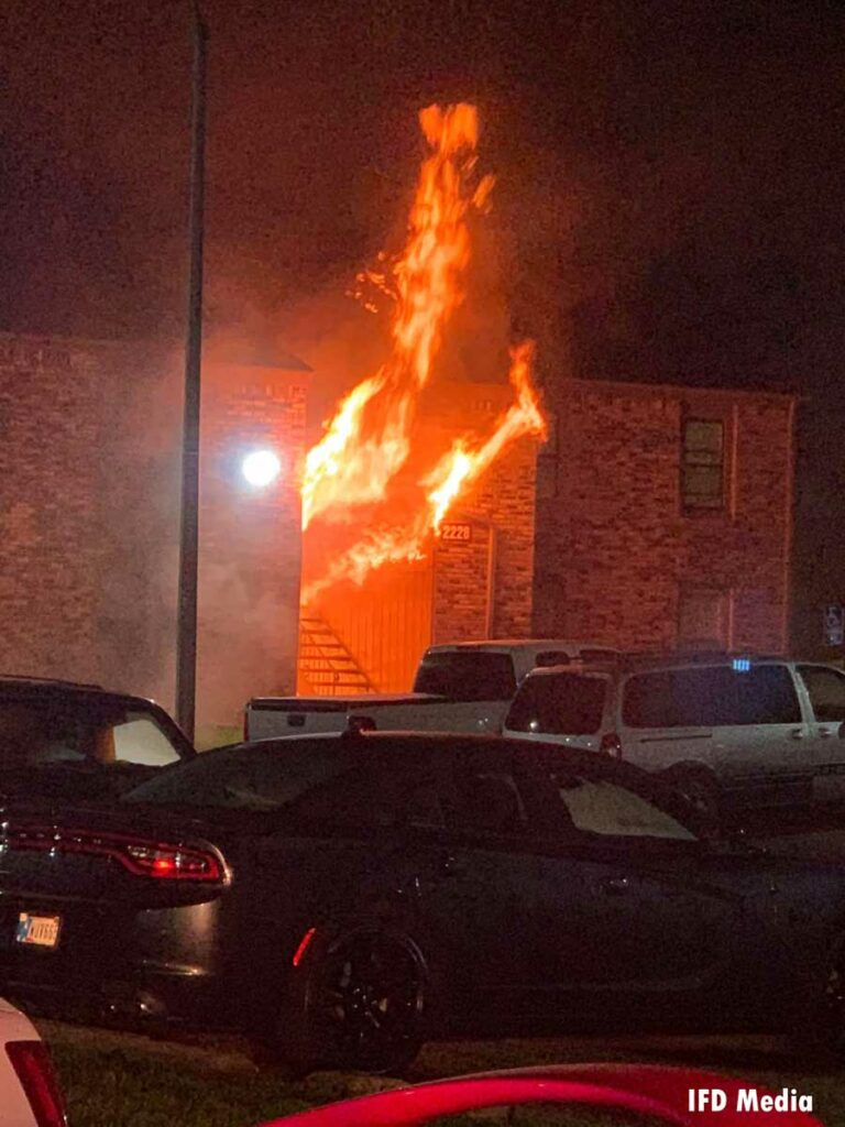 Exterior fire conditions at fire scene