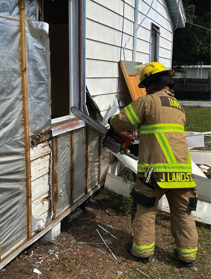 Unique RIT skills were introduced, and firefighters practiced converting windows to doors with hand and power tools.