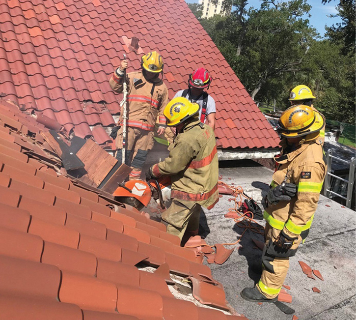 It's rare to have the opportunity to train on a barrel-tile roof. This drill allowed crews to see the simplicity in its removal as well as the method used for its assembly.