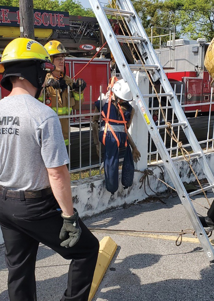 """Tampa's Heavy Rescue Team was able to take advantage of a steel fence in the removal of an impaled """"victim."""""""