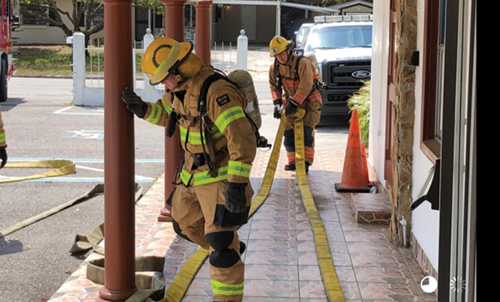 The church sanctuary allowed for simulation of a commercial structure; we were able to conduct multiple fire attacks using 2½-inch lines.