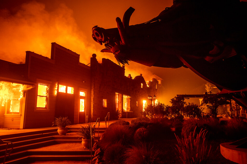 Kincade Fire consumes Soda Rock Winery in Healdsburg, Calif