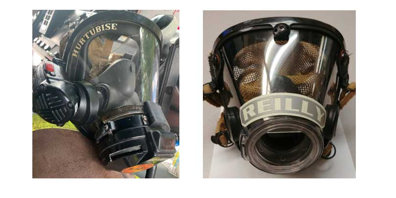 Two examples of face piece labels.