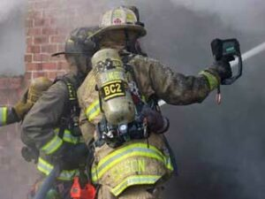 SCBA and bunker coat marking at a working fire