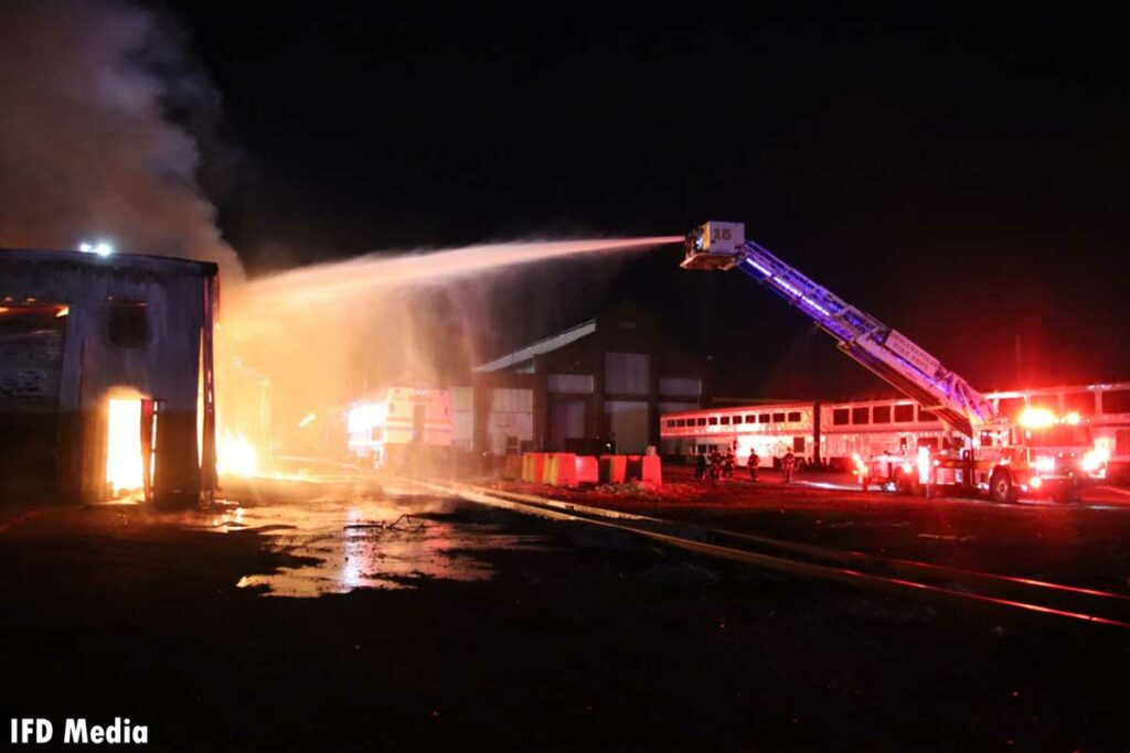 Elevated master stream at Indianapolis fire