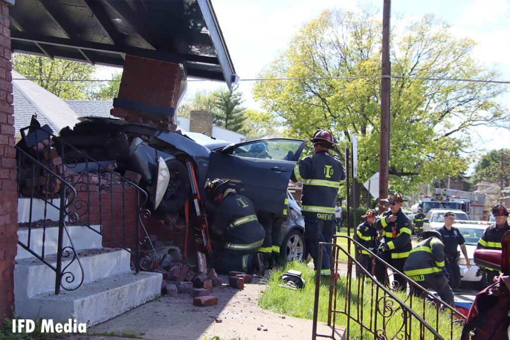 The car collapsed a brick porch support on the home